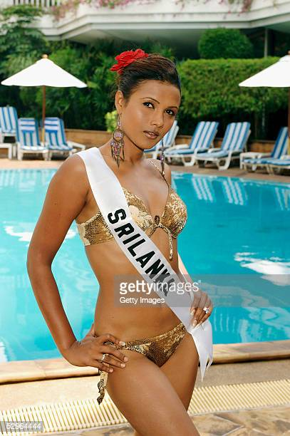 In this Handout image from Miss Universe LP LLP Rozanne Diasz Miss Sri Lanka 2005 poses for photographs in her BSC swimsuit at the Dusit Thani on May...