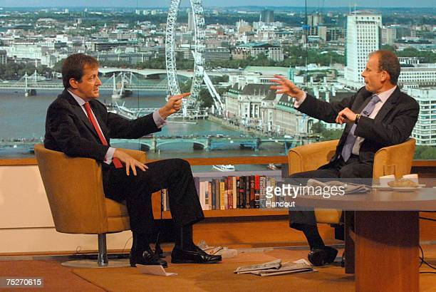 In this handout image from the BBC Allistair Campbell is seen on July 8 2007 during his interview with presenter Andrew Marr for the BBC Sunday AM...