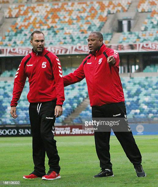 In this handout image John Barnes and Jason McAteer during the Liverpool FC Legends training session at Mabhida Stadium on November 15 2013 in Durban...