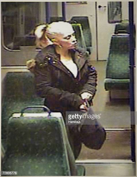 In this handout image made available by Suffolk Police, CCTV footage of murdered prostitute Anneli Alderton aboard the 17:53 from Harwich to...