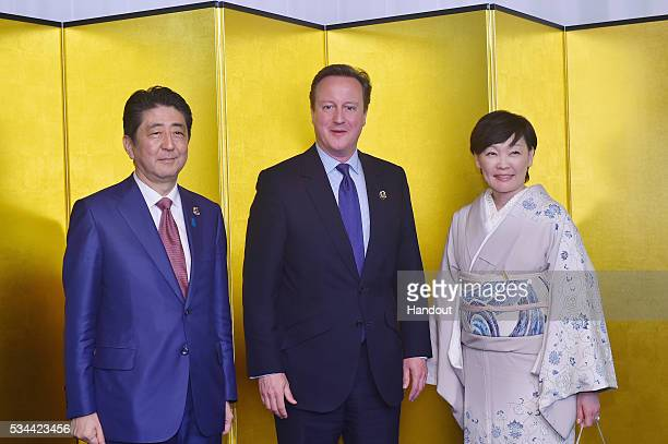 In this handout image provide by Foreign Ministry of Japan Japanese Prime Minister Shinzo Abe British Prime Minister David Cameron and Akie Abe...