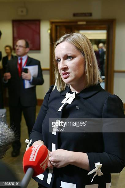 In this handout image provided by 2013 Dept of the Taoiseach Lucinda Creighton Irish Minister for European Affairs speaks with the media prior to the...