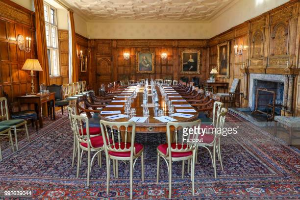 In this handout image provided by 2018 MoD, Crown, shows Chequers before the start of a meeting held by Prime Minister Theresa May and her cabinet to...