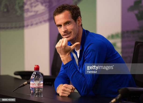 In this handout image provided by AELTC Andy Murray GBR gives a Press Conference during the Wimbledon Lawn Tennis Championships at the All England...