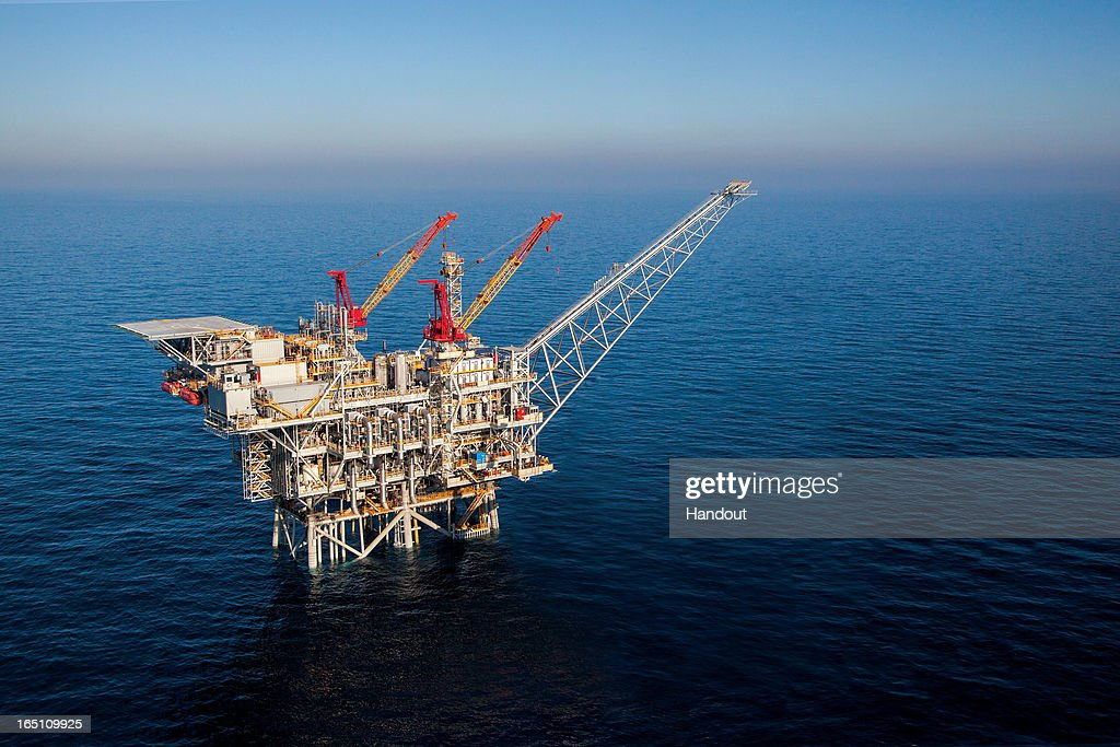 Tamar, The Natural Gas Production Platform Off The Israeli Coast, Is To Begin It's Natural Gas Production : News Photo