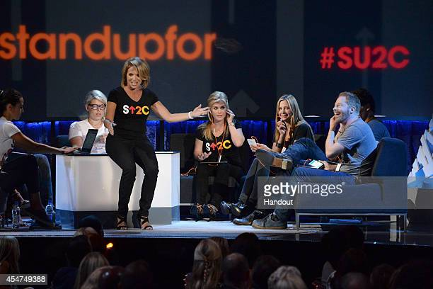In this handout image provided by American Broadcasting Companies Inc Katie Couric Alison Sweeney Mira Sorvino and Jesse Tyler Ferguson attend the...