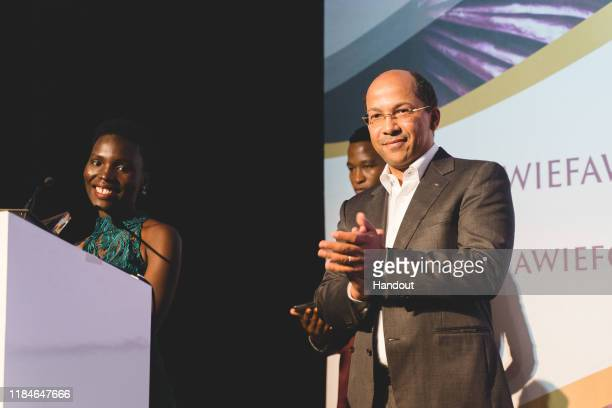 In this handout image provided by APO Group, African Women in Media Award Winner speech, Nila Yasmin, APO Group African Women in Media Award Winner,...