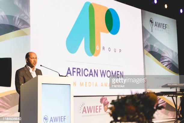 In this handout image provided by APO Group, APO Group African Women in Media Award speech by APO Group CEO, Nicolas Pompigne-Mognard, Founder and...
