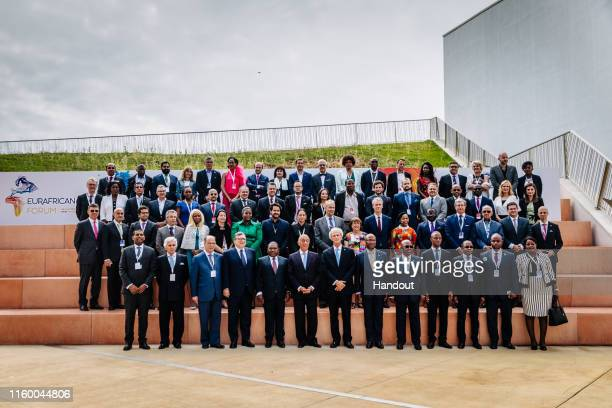 In this handout image provided by APO Group Chairman of the EurAfrican Forum José Manuel Durão Barroso President of the Republic of Mozambique Filipe...