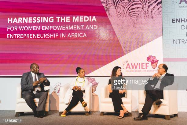 In this handout image provided by APO Group Fireside Chat panel discussion left to right Peter Ndoro SABC Anchor Lerato tshabalala CEO Wunderman...