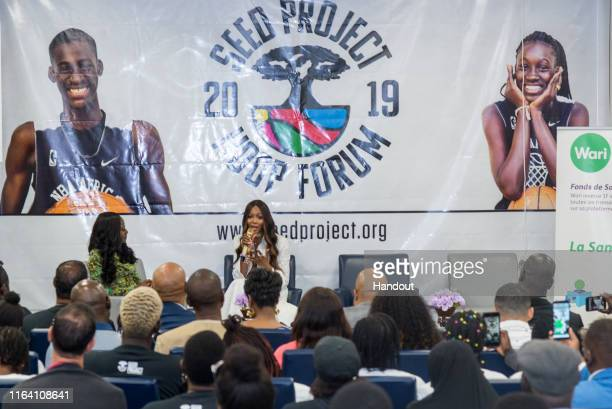 In this handout image provided by APO Group Naomi Campbell explaining her commitment to SEED during the Hoop Forum on July 24 2019 in Thiès Senegal