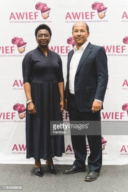 In this handout image provided by APO Group, Ready to make positive change, Irene Ochem, Founder and CEO, AWIEF and Nicolas Pompigne-Mognard, Founder...