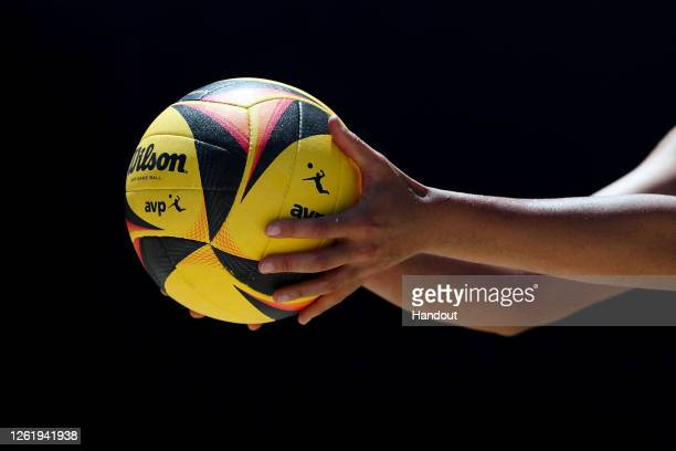 In this handout image provided by AVP, a detail of a volleyball is seen in the final match between Alix Klineman/April Ross and Melissa...