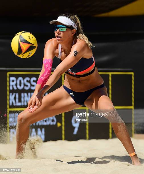 In this handout image provided by AVP, Alix Klineman competes against Sarah Pavan and Melissa Humana-Paredes in the semifinals during the Monster...