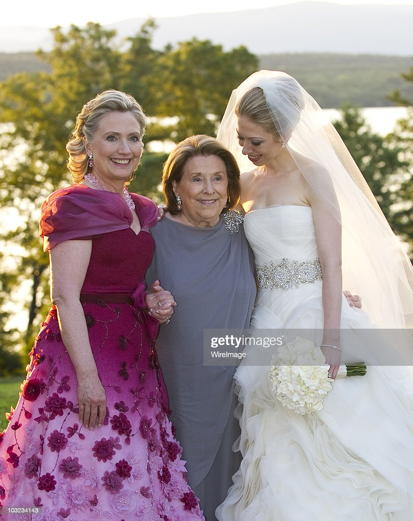 In this handout image provided by Barbara Kinney, (L-R) U.S. Secretary of State Hillary Clinton, her mother Dorothy Rodham and Chelsea Clinton pose during the wedding of Chelsea Clinton and Marc Mezvinsky at the Astor Courts Estate on July 31, 2010 in Rhinebeck, New York. Chelsea Clinton, the daughter of former U.S. President Bill Clinton and Secretary of State Hillary Clinton, married Marc Mezvinsky today in an interfaith ceremony at the estate built by John Jacob Astor on the Hudson River about two hours north of New York City.