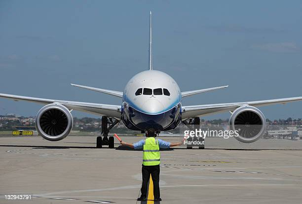 In this handout image provided by Boeing Australia a Boeing 787 Dreamliner lands at Sydney Airport on November 15 2011 in Sydney Australia The Boeing...