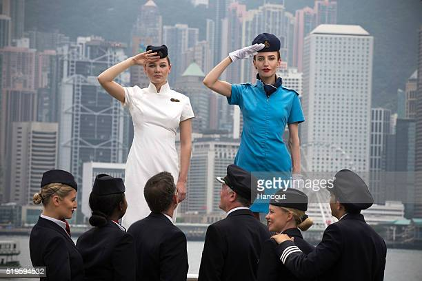 In this handout image provided by British Airways Models Imogen Waterhouse and Lizzy Jagger take part in a British Airways heritage fashion shoot...