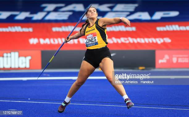 In this handout image provided by British Athletics Freya Jones of Great Britain competes in the Women's Javelin Throw during Day Two of the Muller...