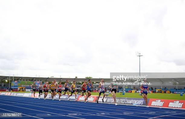 In this handout image provided by British Athletics, Jake Smith of Great Britain leads the pack in the Men's 5000 Metres Walk during Day Two of the...