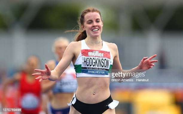 In this handout image provided by British Athletics, Keely Hodgkinson of Great Britain crosses the line to win the Women's 800 Metres during Day Two...