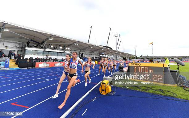 In this handout image provided by British Athletics, Laura Weightman of Great Britain and Jessica Judd of Great Britain lead in the Women's 1500...