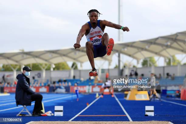In this handout image provided by British Athletics, Reynold Banigo of Great Britain takes part in the Men's Long Jump during day one of Muller...