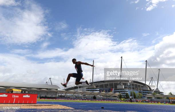 In this handout image provided by British Athletics, Wesley Matsuka-Williams of Great Britain takes part in the Men's Triple Jump during Day Two of...