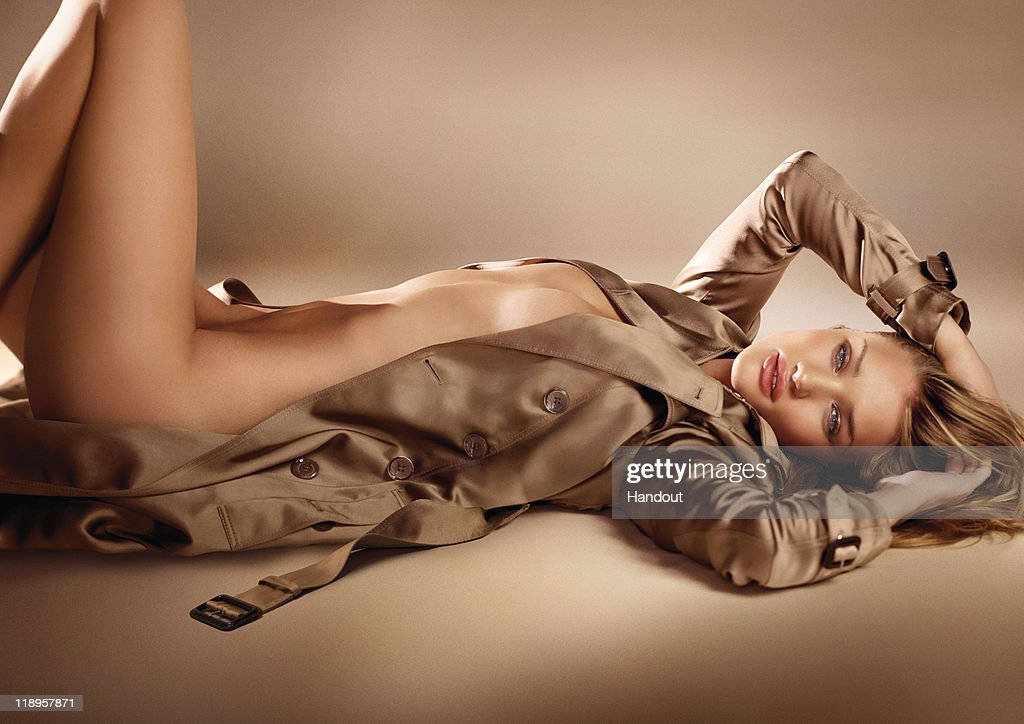 British Actress Rosie Huntington-Whiteley In Burberry Body Advertisement : News Photo