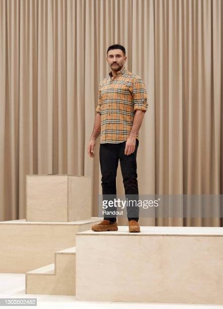 In this handout image provided by Burberry, designer Riccardo Tisci is seen during the Burberry Autumn/Winter 2021 Menswear Presentation during LFW...