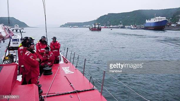 In this handout image provided by CAMPER Emirates Team New Zealand arrive at Puerto Montt Chile where the team will perform repairs to their Volvo...