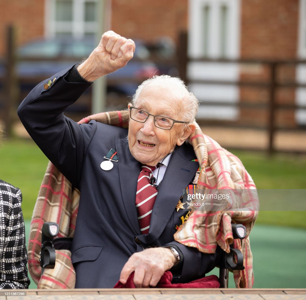 Tom Moore, Military Veteran Who Raised Funds For NHS, Celebrates 100th Birthday : News Photo