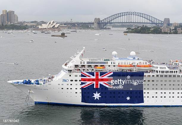 In this handout image provided by Carnival Australia PO Cruises's Pacific Sun joins Sydney's Australia Day celebrations with the cruise ship...