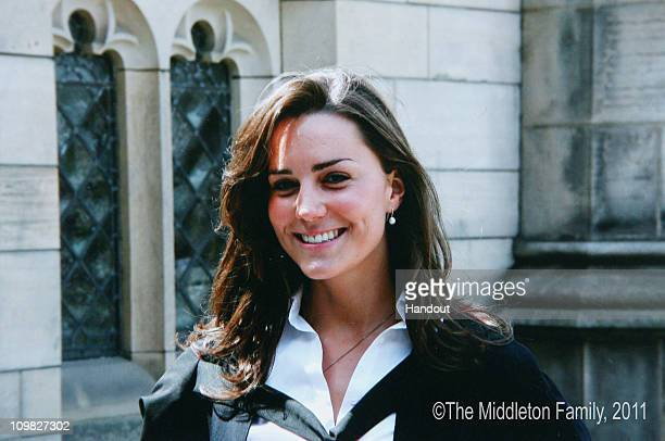 In this Handout Image provided by Clarence House www.officialroyalwedding2011.org, Kate Middleton on the day of her graduation ceremony at St...