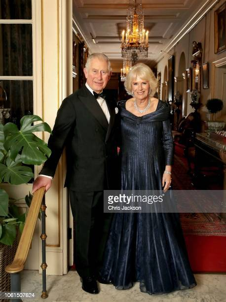 In this handout image provided by Clarence House Prince Charles Prince of Wales and Camilla Duchess of Cornwall pose for a photograph at Clarence...