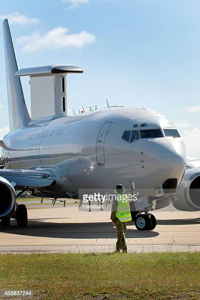 In this handout image provided by Commonwealth of Australia, the E-7A Wedgetail Airborne Early Warning and Control aircraft departs for the Middle...