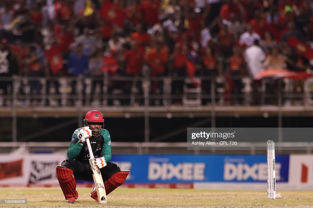 In this handout image provided by CPL T20, A dejected Fabian Allen of St Kitts and Nevis Patriots during the Hero Caribbean Premier League Semi-Final match between Trinbago Knight Riders and St Kitts and Nevis Patriots at Brian Lara Stadium on September 14, 2018 in Tarouba, Trinidad and Tobago.
