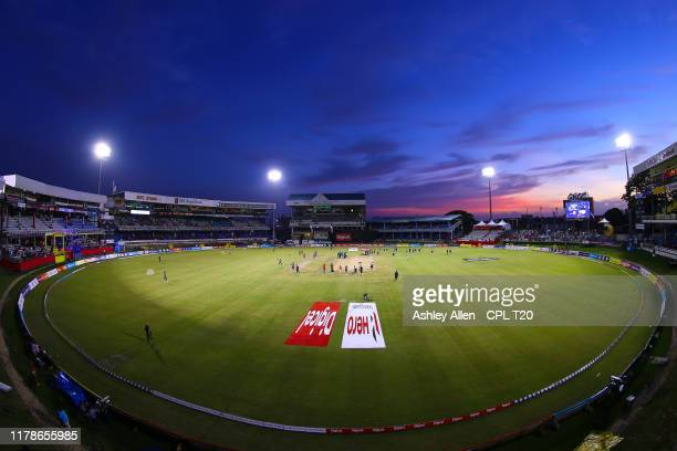 In this handout image provided by CPL T20, A general view ahead of play during the Hero Caribbean Premier League match between Trinbago Knight Riders...