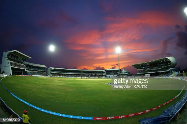 In this handout image provided by CPL T20 A general view of the Kensington Oval during Match 25 of the 2017 Hero Caribbean Premier League between...