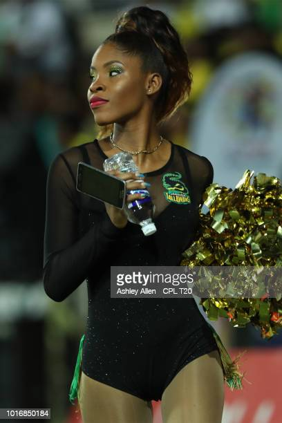 In this handout image provided by CPL T20 A Jamaica Tallawahs cheerleader during the Hero Caribbean Premier League match between Jamaica Tallawahs...