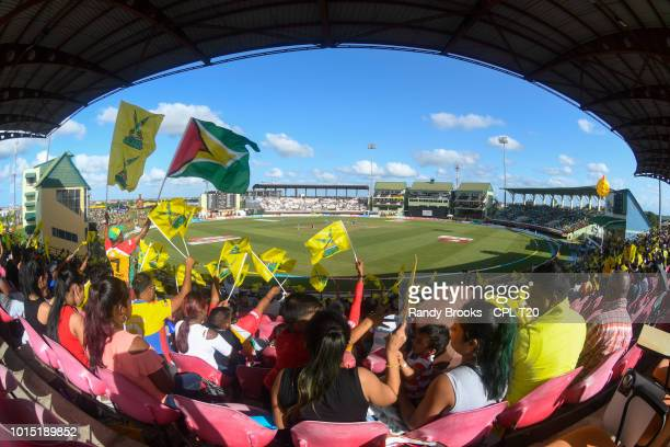 In this handout image provided by CPL T20 A view from the stands during match 4 of the Hero Caribbean Premier League between Guyana Amazon Warriors...