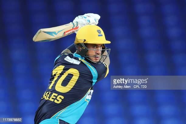 In this handout image provided by CPL T20 Alex Hales of Barbados Tridents plays a cut shot during the Hero Caribbean Premier League match between St...