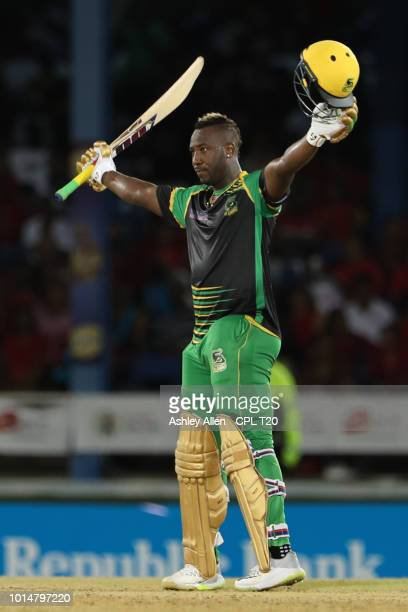 In this handout image provided by CPL T20 Andre Russell captain of Jamaica Tallawahs reaches 100 runs during the Hero Caribbean Premier League match...