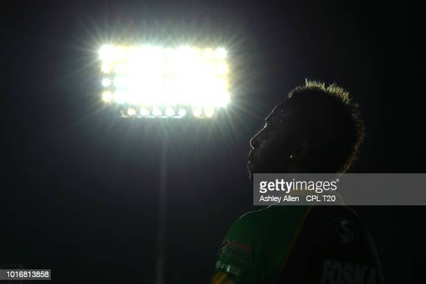 In this handout image provided by CPL T20 Andre Russell of Jamaica Tallawahs during the Hero Caribbean Premier League match between Jamaica Tallawahs...