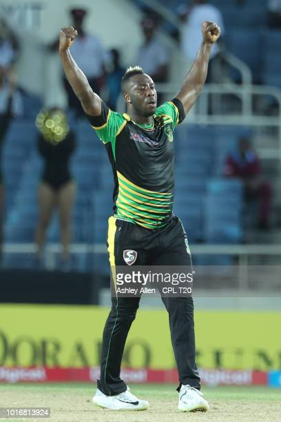In this handout image provided by CPL T20 Andre Russell of Jamaica Tallawahs celebrates during the Hero Caribbean Premier League match between...
