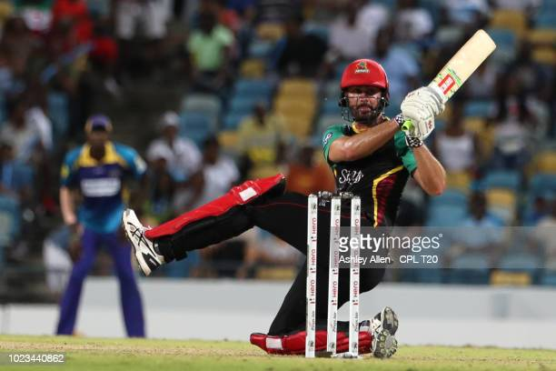 In this handout image provided by CPL T20 Ben Cutting of St Kitts and Nevis Patriots bats during the Hero Caribbean Premier League match between...