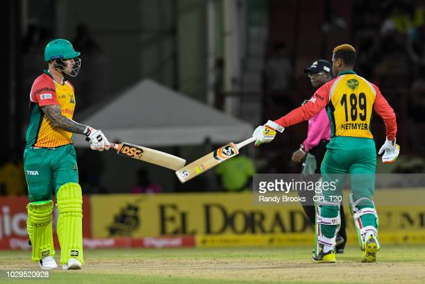 In this handout image provided by CPL T20 Cameron Delport and Shimron Hetmyer of Guyana Amazon Warriors during match 29 of the Hero Caribbean Premier...