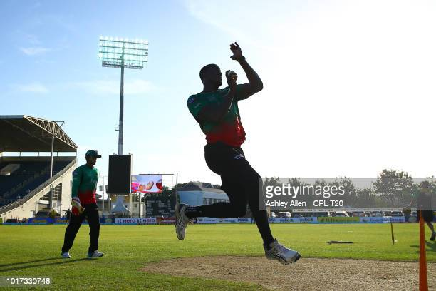 In this handout image provided by CPL T20 Andre Russell of Jamaica Tallawahs digs out a yorker during the Hero Caribbean Premier League match between...