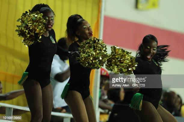 In this handout image provided by CPL T20 Cheerleaders of Jamaica Tallawahs dance during the Hero Caribbean Premier League match between Jamaica...