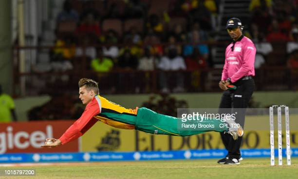 In this handout image provided by CPL T20 Chris Green of Guyana Amazon Warriors fields during match 6 of the Hero Caribbean Premier League match...