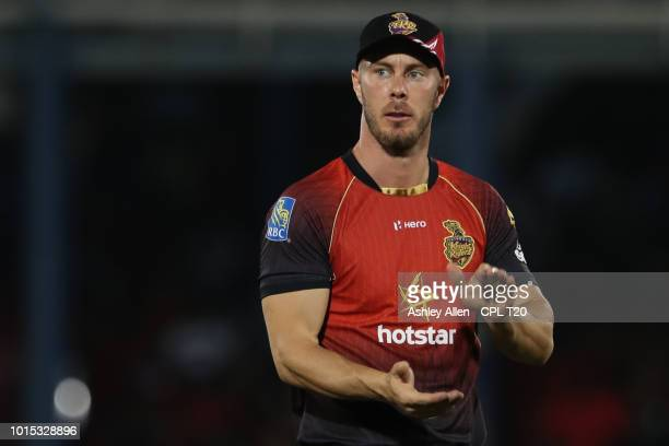 In this handout image provided by CPL T20 Chris Lynn of Trinbago Knight Riders during the Hero Caribbean Premier League match between Trinbago Knight...
